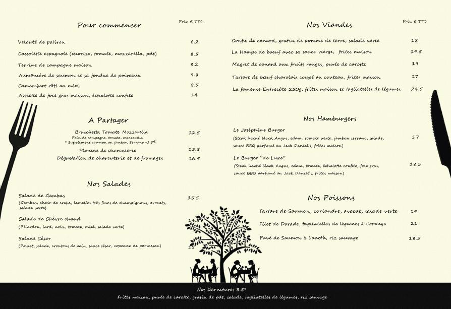 Menu à la Carte  Restaurant Chez Joséphine